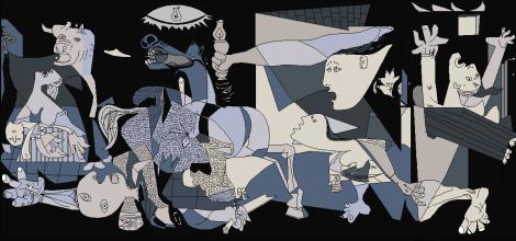 Le peintre Pablo Picasso a peint le bombardement de la ville espagnole par les troupes nazies. Son tableau souligne toute la barbarie dont l'Homme est capable.